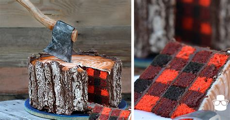 This Lumberjack Cake Has An Edible Axe – And A Secret Inside