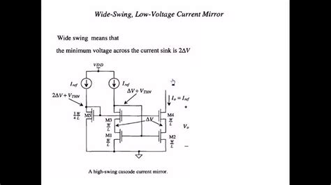 Wide Swing (High Swing) Cascode Current Mirror (operation