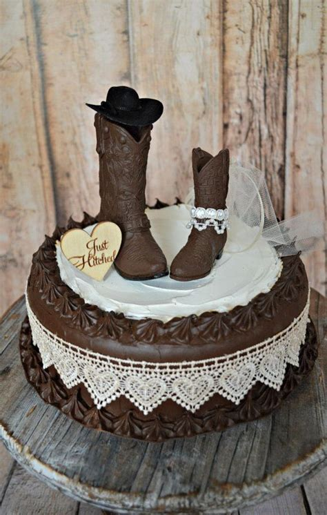 cowgirl Just hitched western wedding cowboy boot cake