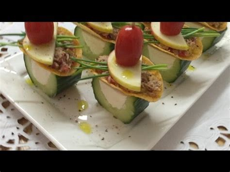 Fine Appetizers & Canapes Made From Cucumber and Tuna
