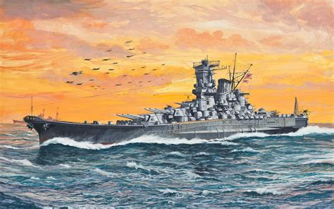The Japanese battleship Yamato is hit by a bomb near her