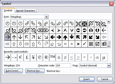 Don't use Wingdings